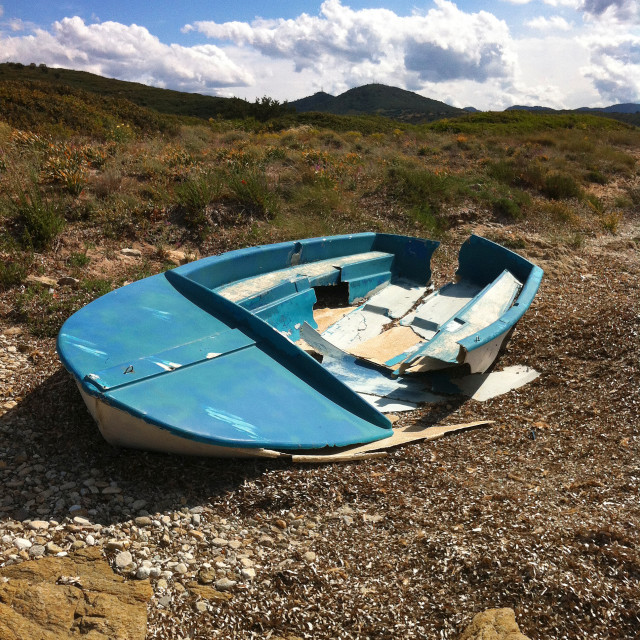 """Broken boat"" stock image"