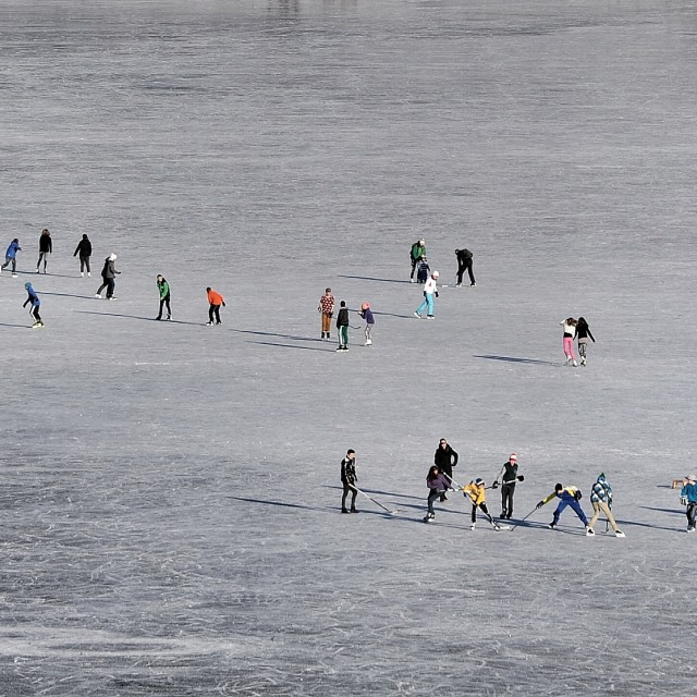 """""""Skating on thick ice"""" stock image"""