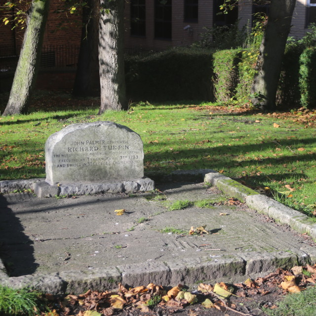 """Richard ""Dick"" Turpin's Grave and Headstone in St Georges Burial Ground, York"" stock image"