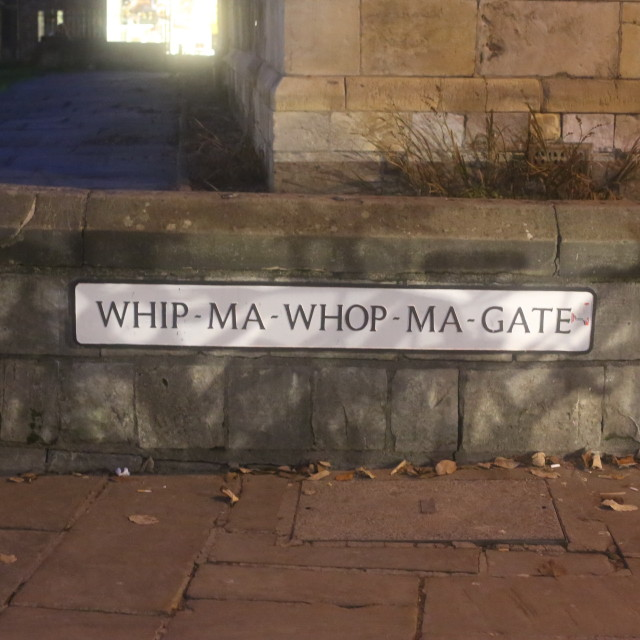 """Whip-Ma-Whop-Ma-Gate Street Sign, York."" stock image"