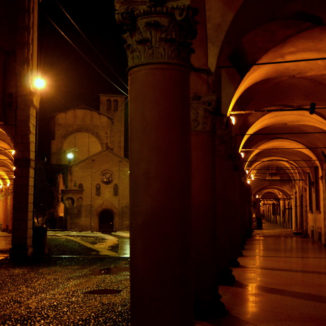 """""""Bologna by Night"""" stock image"""