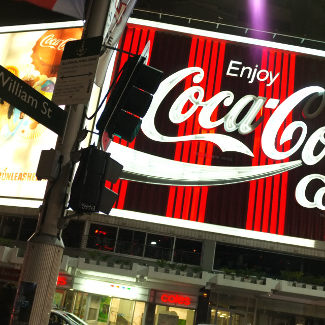 """King's Cross Coca-Cola Sign"" stock image"