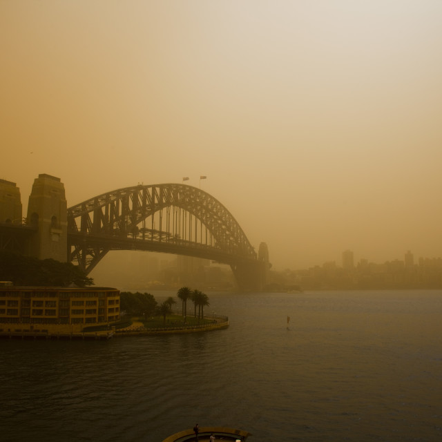 """Sydney Harbour Bridge in the Dust Storm of 2009"" stock image"