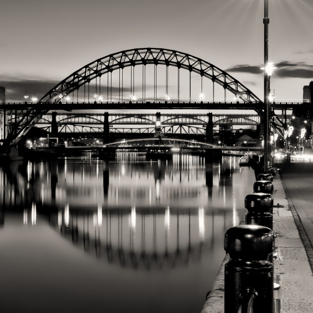 """""""The River Tyne and its Bridges B+W"""" stock image"""