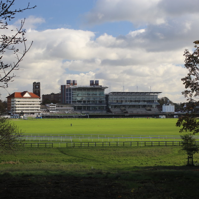 """York Racecourse Stands taken over Knavesmire."" stock image"