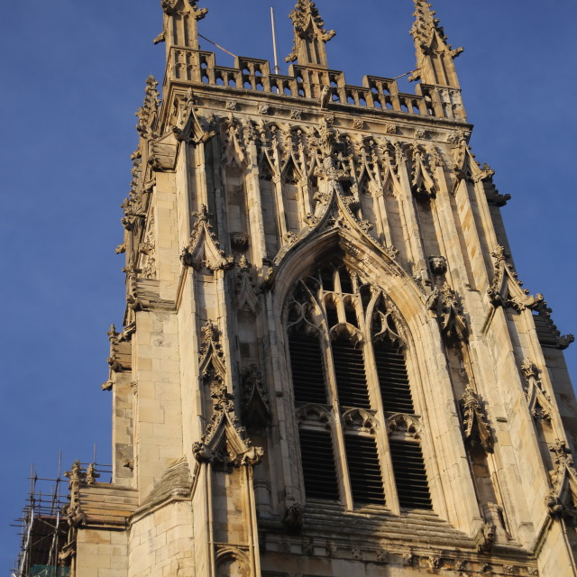 """York Minster, West Tower Detail, York, North Yorkshire."" stock image"