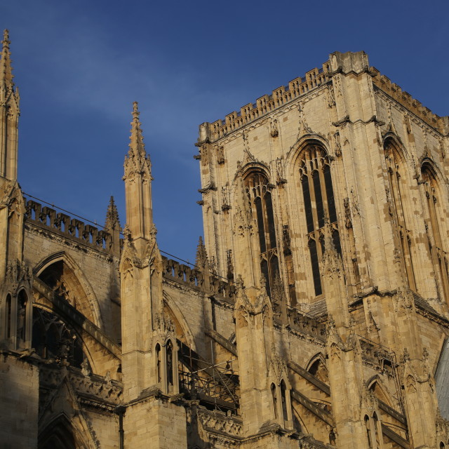 """York Minster, Detail Central/Crossing Tower and Nave Roof, York, North Yorkshire"" stock image"