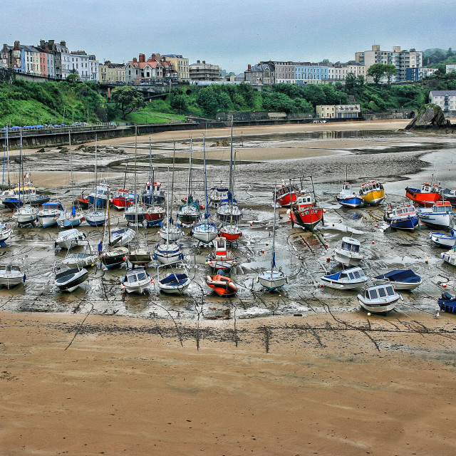 """Tenby Harbour at Low Tide"" stock image"