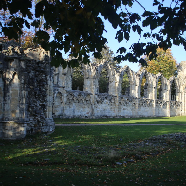 """Ruins of St. Mary's Abbey, Museum Gardens, York"" stock image"