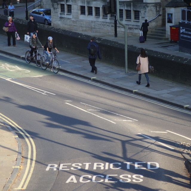 """Lendal Bridge ""Restricted Access"" Roadmarking, York."" stock image"