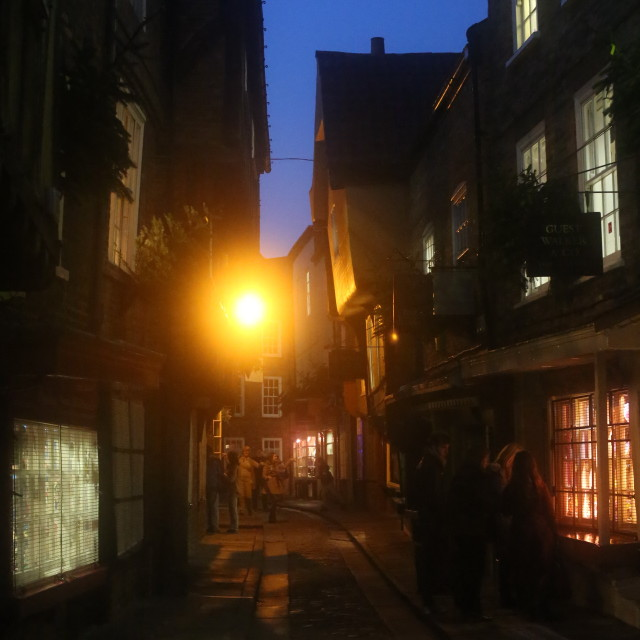"""The Shambles at Night, York."" stock image"