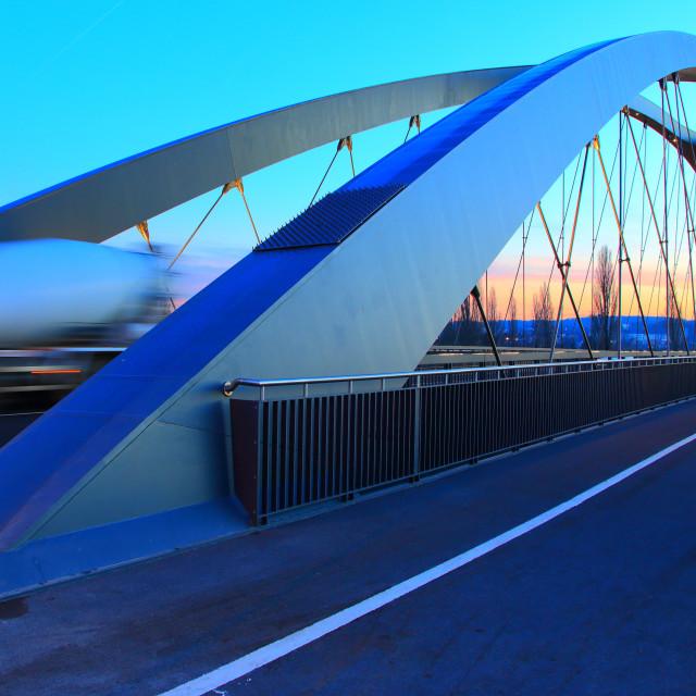 """""""Osthafenbrücke"""" stock image"""