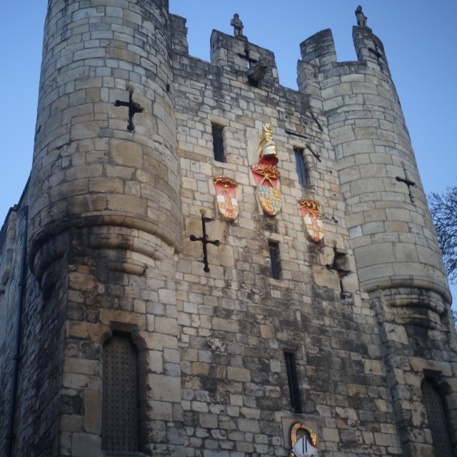 """Statuettes and Detail on Micklegate Bar, York"" stock image"