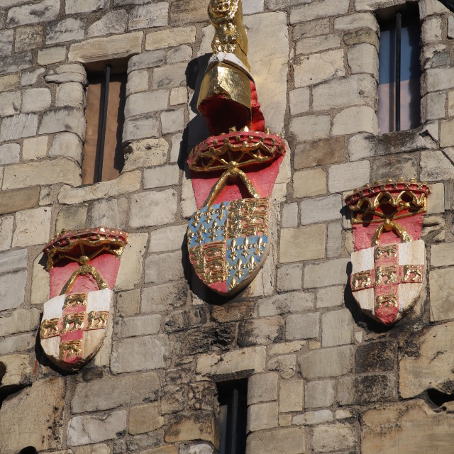 """Heraldry, Shield, Coat of Arms and Detail on Micklegate Bar"" stock image"