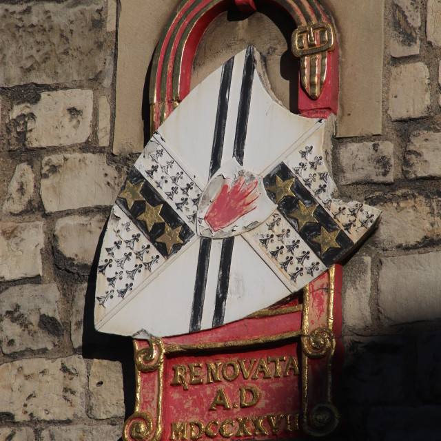 """Heraldry, Shield, Coat of Arms and Detail on Micklegate Bar, York"" stock image"