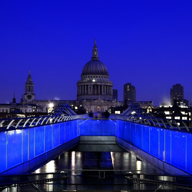 """Early morning on the Millenium bridge in London"" stock image"