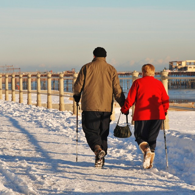 """""""The Winter walkers"""" stock image"""