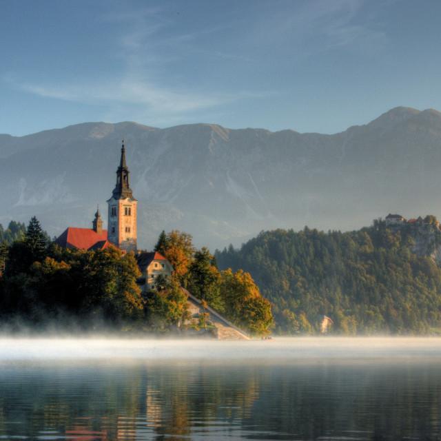 """Slovenia - Mist on Bled"" stock image"