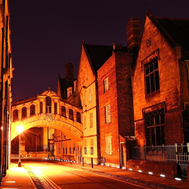 """Bridge of sighs, Oxford at night"" stock image"