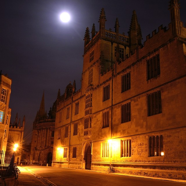 """Bodleian Library, Oxford at night"" stock image"
