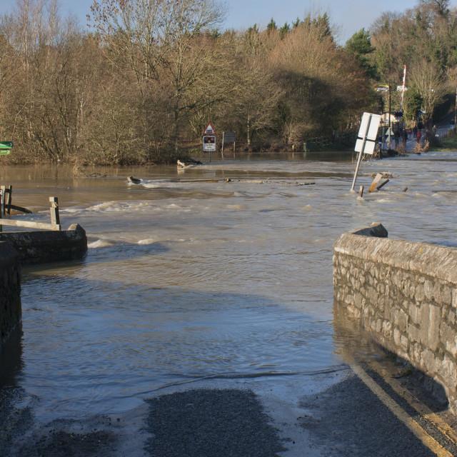 """Teston Bridge Floods"" stock image"