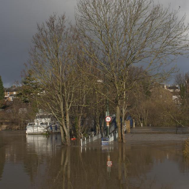"""""""Tovil Footbridge Floods"""" stock image"""