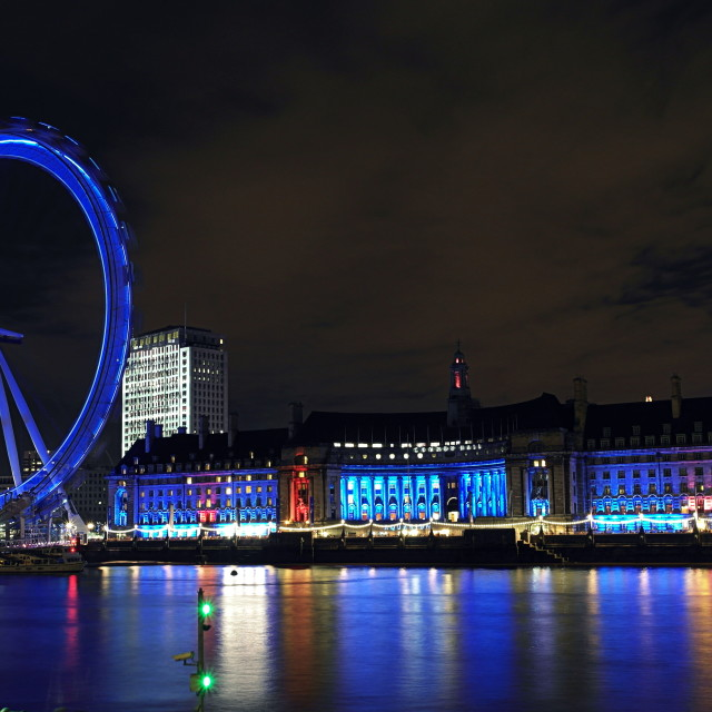 """London Eye, County Hall - long exposure"" stock image"