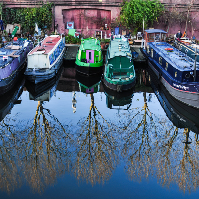 """Winters day on Regents Canal, London"" stock image"
