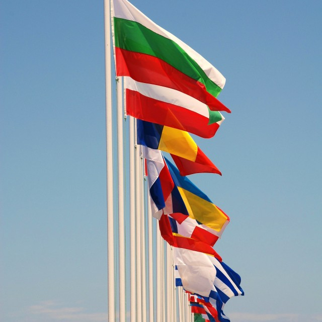 """International flags, Nisyros"" stock image"