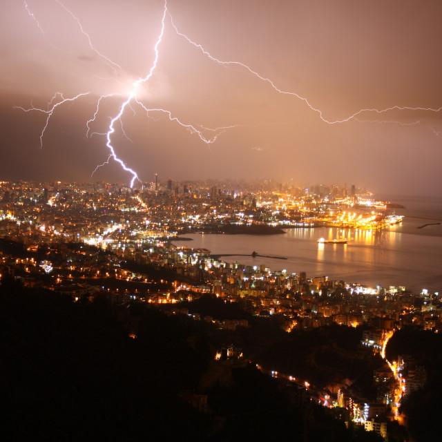 """Beirut Sky - lightning"" stock image"