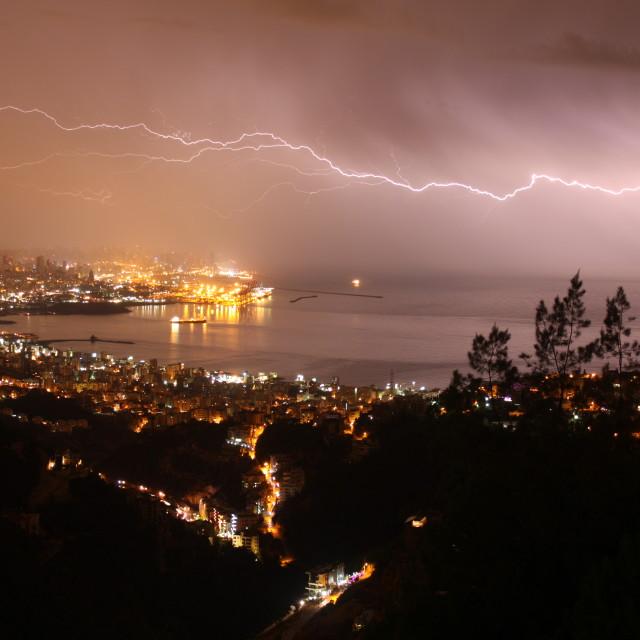 """Beirut Sky - lightning (2)"" stock image"