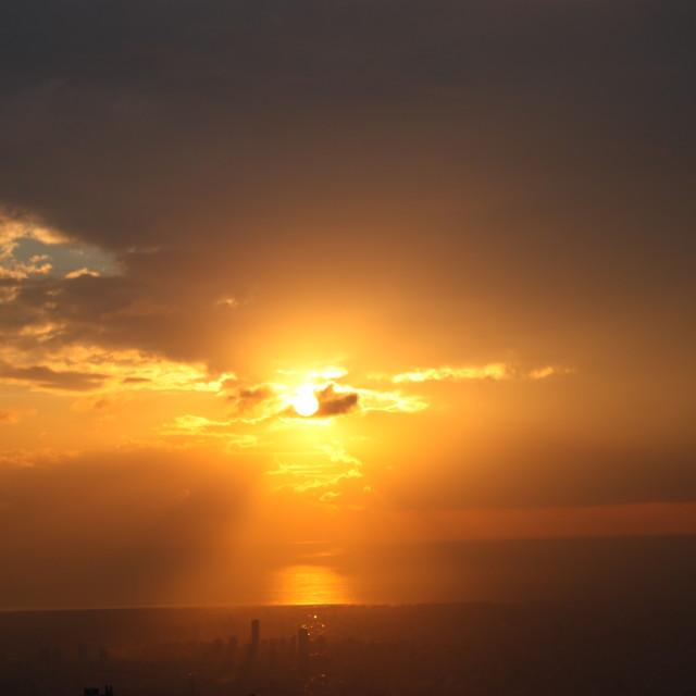 """Beirut Sky - orange with shadow"" stock image"