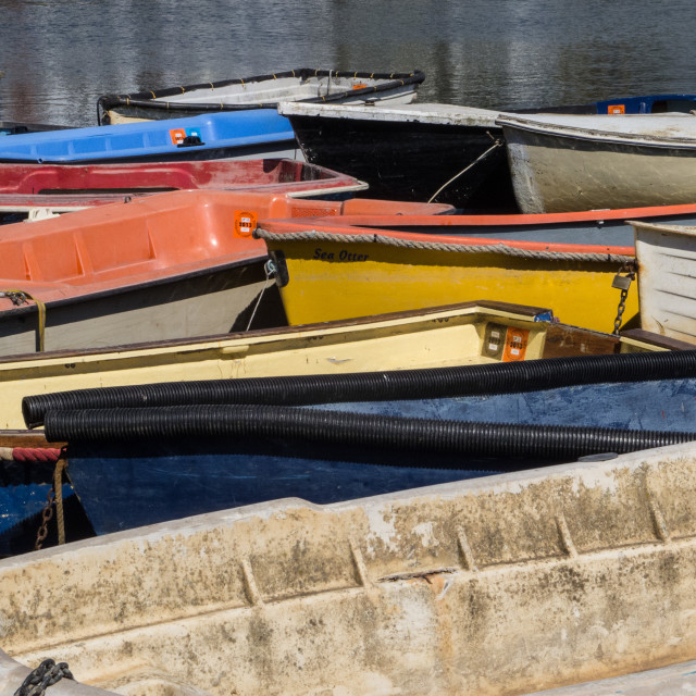 """Colourful dinghies"" stock image"