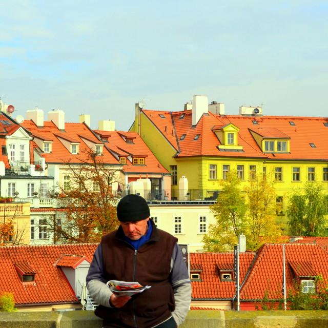 """Hawker in Prague"" stock image"