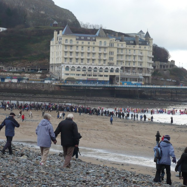 """Boxing Day Dip Llandudno"" stock image"