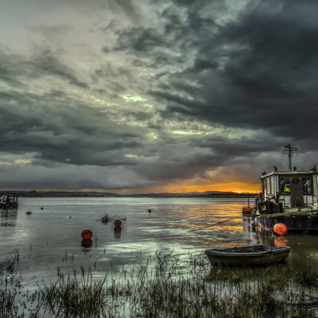 """Houseboat on the River Taw"" stock image"