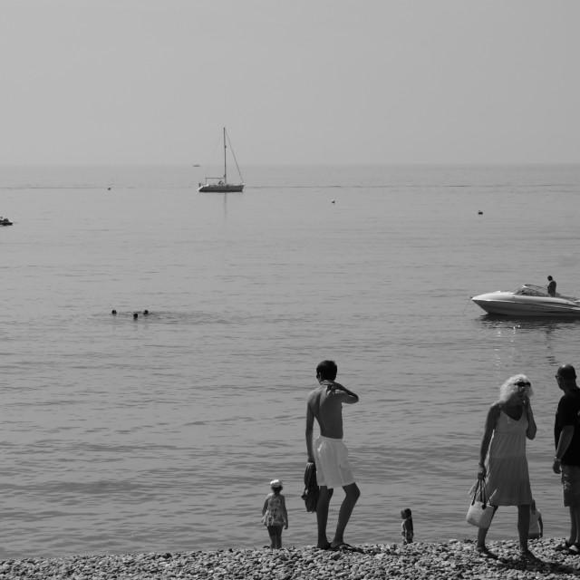 """Brighton beach in b&w"" stock image"