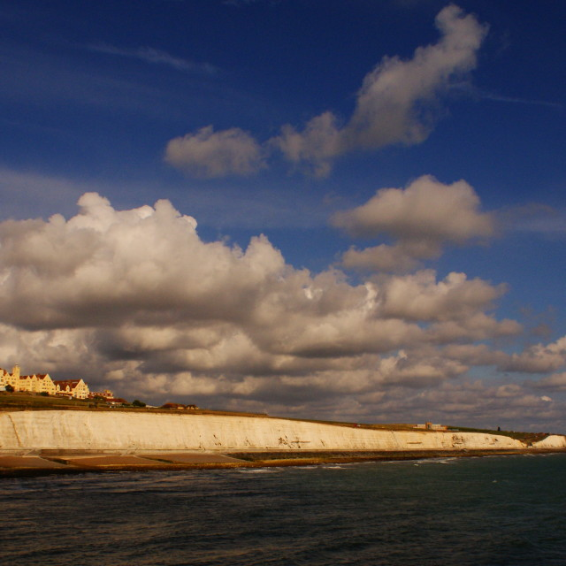"""Roedean school and the Cliffs towards Rottingdean"" stock image"