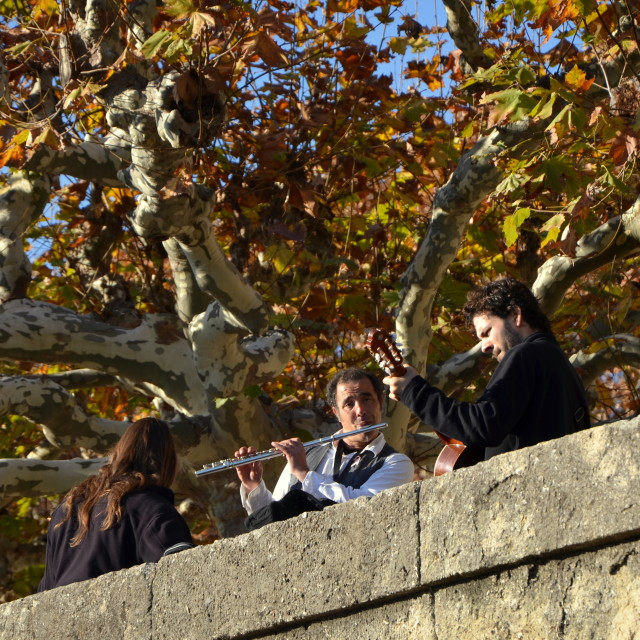 """Musicians at Le Peyrou"" stock image"