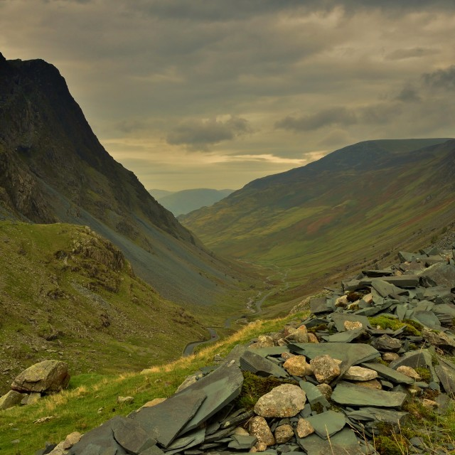 """Mountain Pass between Keswick & Buttermere in the Lake District/UK"" stock image"