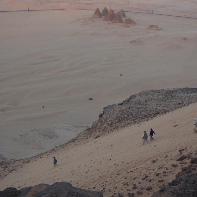 """""""descent of Jebel Barkel"""" stock image"""
