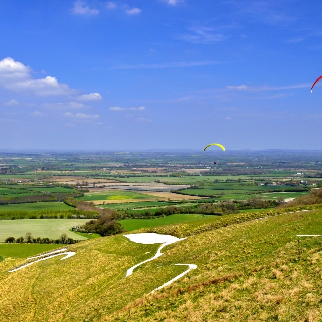 """Paragliders above Uffington White Horse Hill- Oxfordshire/UK"" stock image"