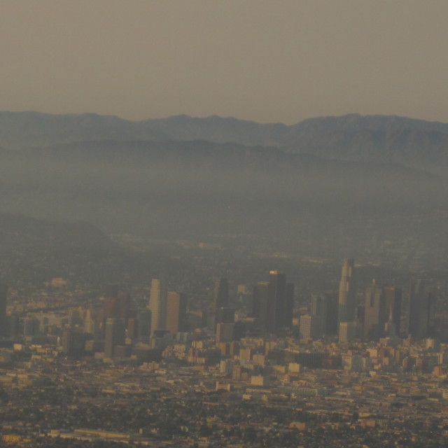 """Los Angeles in smog"" stock image"