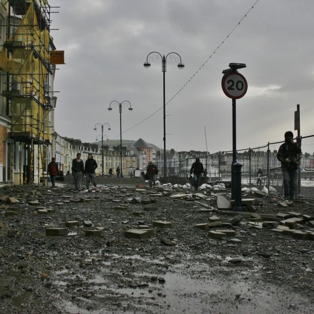 """Aberystwyth Seafront Storm Damage"" stock image"