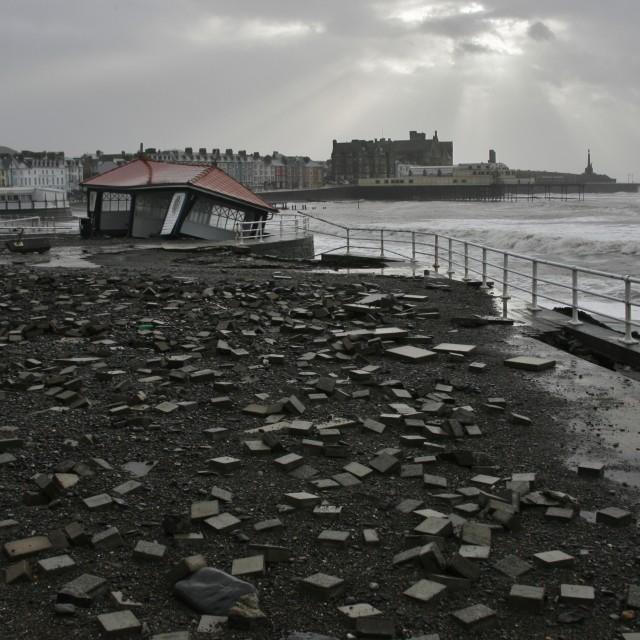 """Aberystwyth Promenade Storm Damage"" stock image"