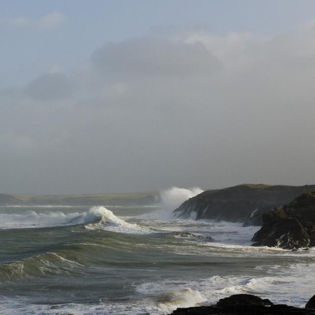 """Hercules Storm in Padstow Bay"" stock image"