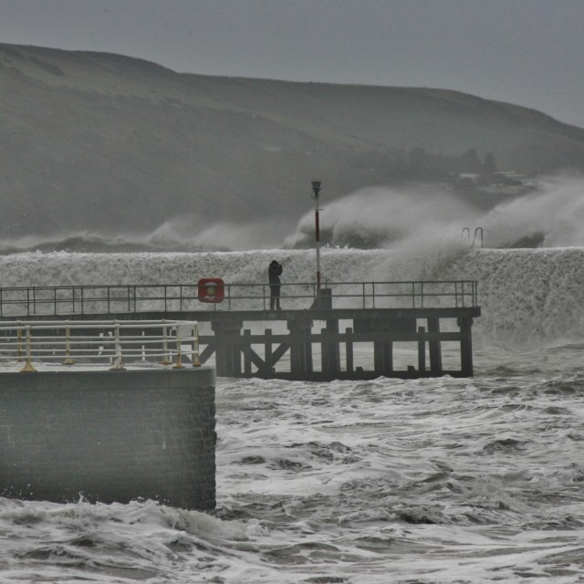 """Aberystwyth RNLI Rescue Man Stranded By Hercules Storm"" stock image"