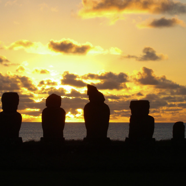 """Sunset Moai"" stock image"