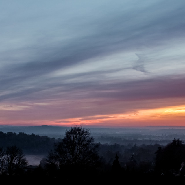 """Winter sunset over Surrey"" stock image"