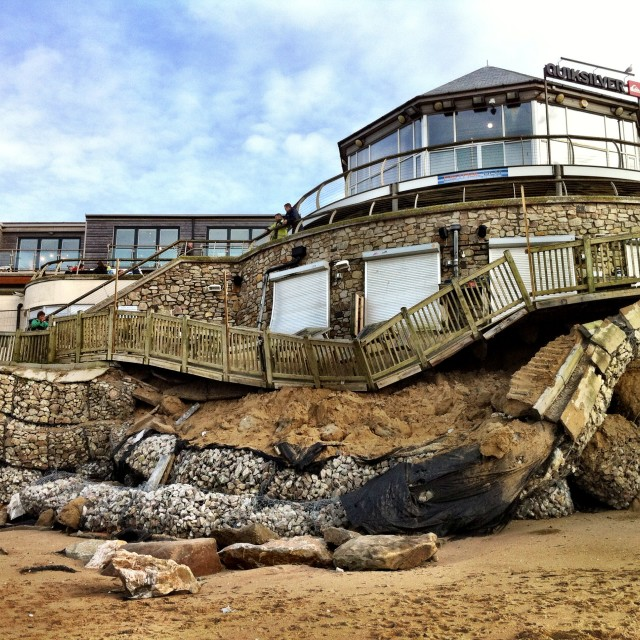 """Fistral Beach Bar Destruction"" stock image"